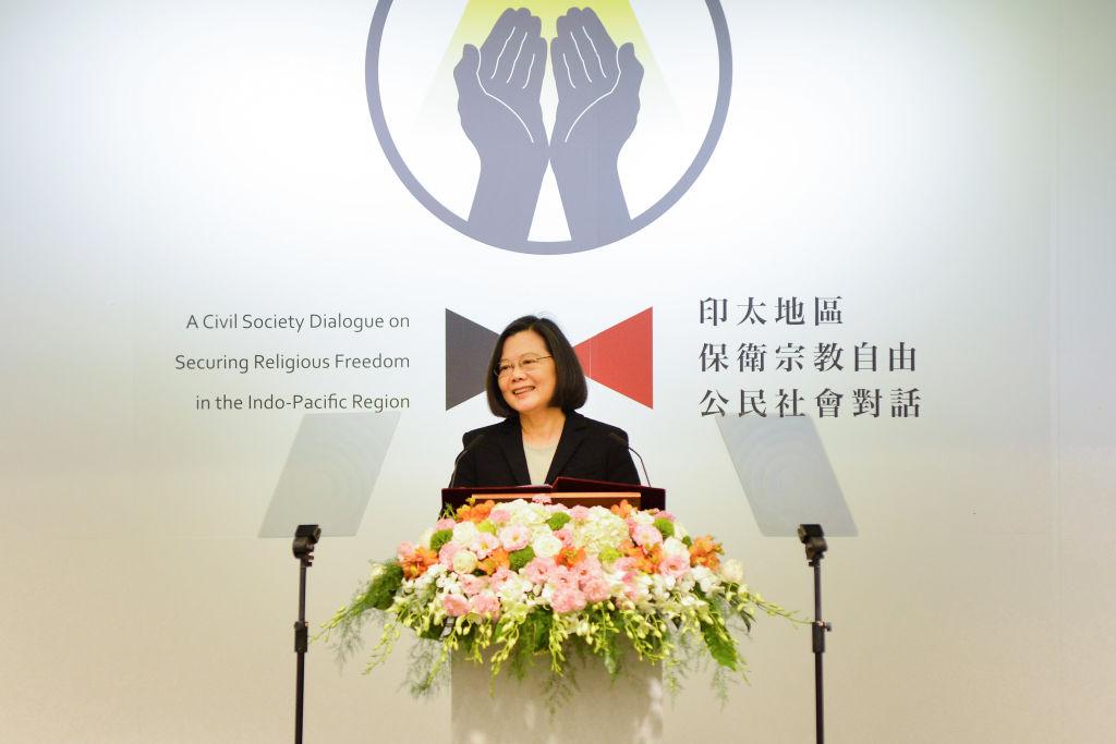 Taiwanese President Tsai Ing-wen speaks