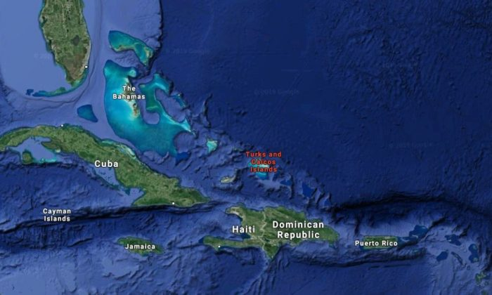 A map shows the Turks and Caicos islands. (Google Maps)