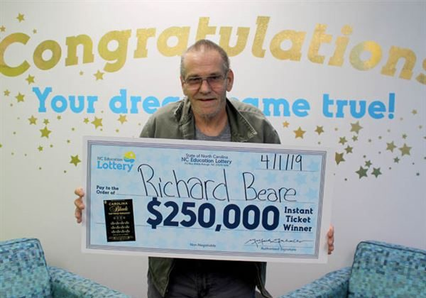 A North Carolina man who was diagnosed recently with cancer won a $250,000 lottery prize on April 1, 2019. (NC Education Lottery)