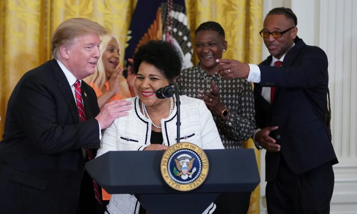 Alice Marie Johnson, who had her sentence commuted by President Donald Trump after she served 21 years in prison for cocaine trafficking,  speaks during a celebration of the First Step Act in the East Room of the White House on April 1, 2019. (Chip Somodevilla/Getty Images)