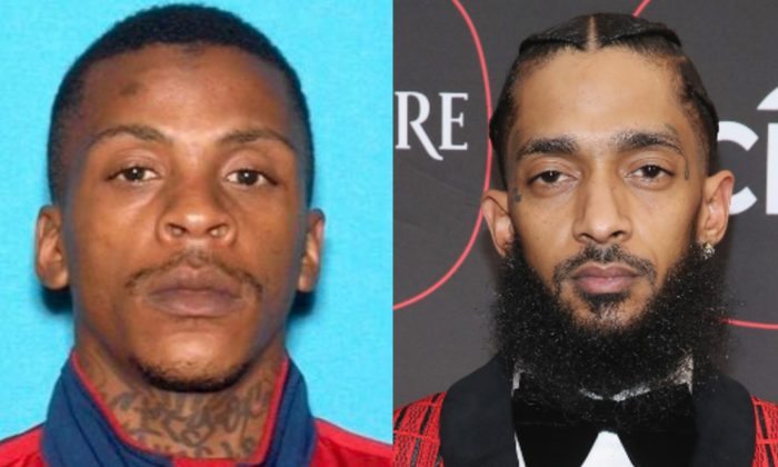 (L): Suspect Eric Holder. (Los Angeles Police Department); Rapper Nipsey Hussle. (Randy Shropshire/Getty Images for Warner Music)
