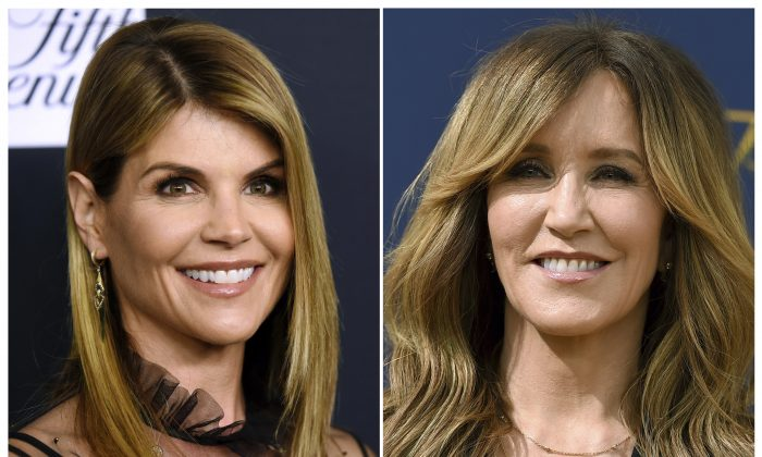 This combination photo shows actress Lori Loughlin at the Women's Cancer Research Fund's An Unforgettable Evening event in Beverly Hills, Calif., on Feb. 27, 2018, left, and actress Felicity Huffman at the 70th Primetime Emmy Awards in Los Angeles on Sept. 17, 2018. (AP Photo, File)
