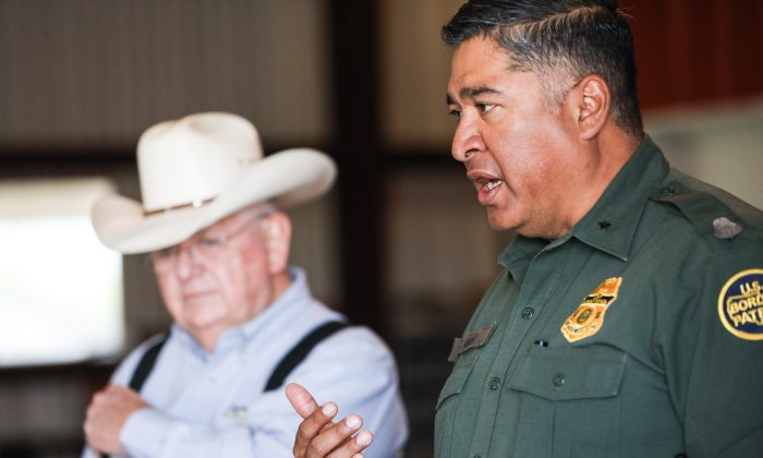 Deputy Chief Border Patrol agent for Rio Grande Valley Raul Ortiz (R) and Richard Guerra on the Guerra's La Anacua Ranch near Rio Grande City, Texas, on March 22, 2019. (Charlotte Cuthbertson/The Epoch Times)