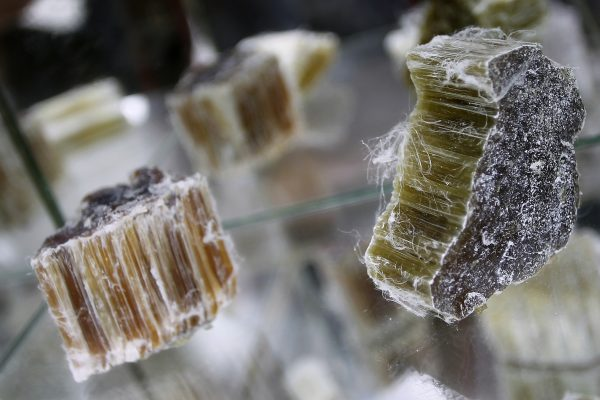 Raw asbestos on display in Caligny, France, on June 21, 2012. Asbestos is known carcinogen, and Health Canada considers anything more than <0.1% to be more than a trace amount of asbestos. (Charly Triballeau/AFP/GettyImages)