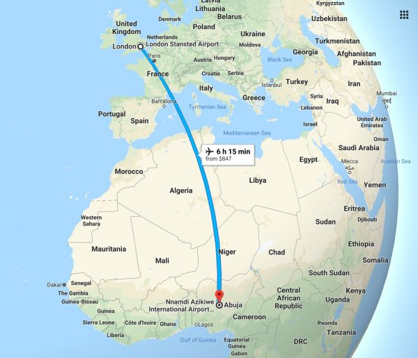 The 4,000 miles flight route from London to Abuja, Nigeria