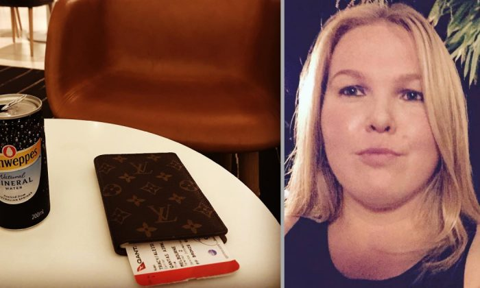 Qantas Passenger Aleisha Tracy (R) on June 21, 2015 (Facebook) and her boarding pass on March 24, 2019. (Instagram)