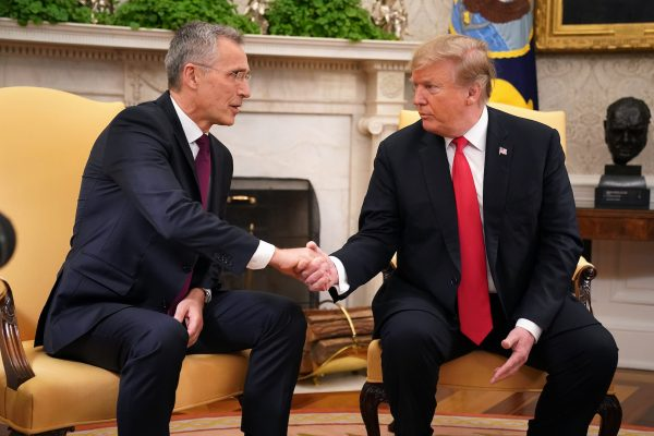 NATO Secretary General Jens Stoltenberg (L) and President Donald Trump