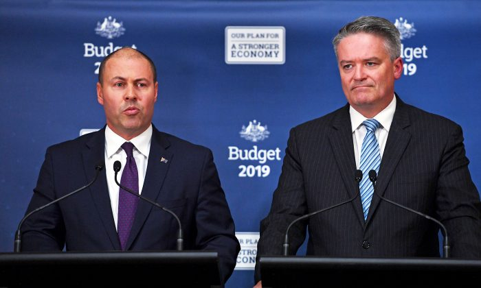 Australian Treasurer Josh Frydenberg (L) and Finance Minister Mathias Cormann (R) announce the Federal Budget in Canberra, Australia, on April 2, 2019. (Tracey Nearmy/Getty Images)