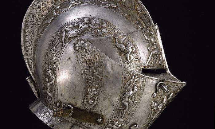 """Close helmet, circa 1590, French manufacture. One of the exhibits from the Stibbert Museum, Florence that is on display at The John and Mable Ringling Museum of Art as part of the """"Knights"""" exhibition. (The John and Mable Ringling Museum of Art)"""