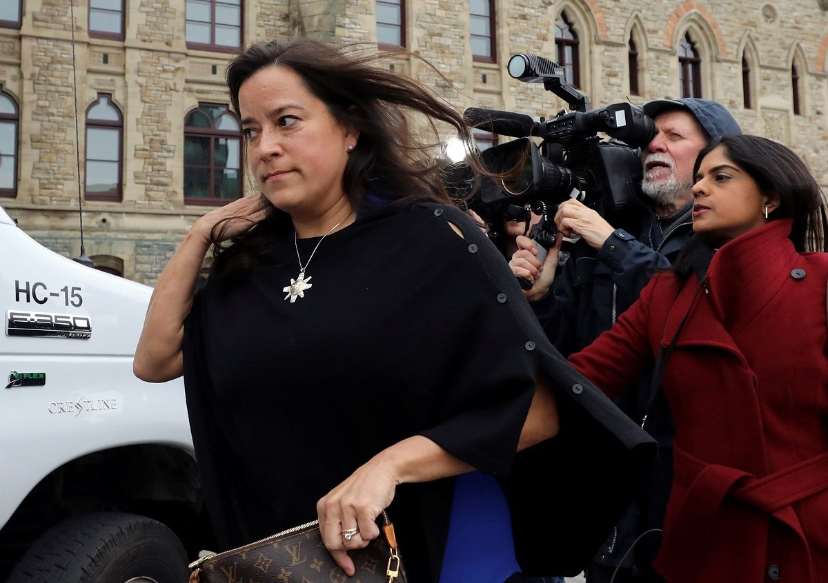 Former Canadian Justice Minister Jody Wilson-Raybould leaves West Block on Parliament Hill in Ottawa