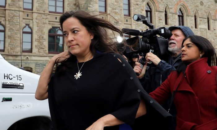Former Canadian Justice Minister Jody Wilson-Raybould leaves West Block on Parliament Hill in Ottawa, Ontario, Canada, on April 2, 2019. (Chris Wattie/Reuters)