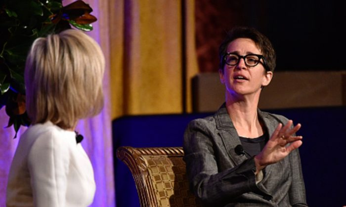 Rachel Maddow speaks in a file photograph. (Photo by Bryan Bedder/Getty Images for IWMF)