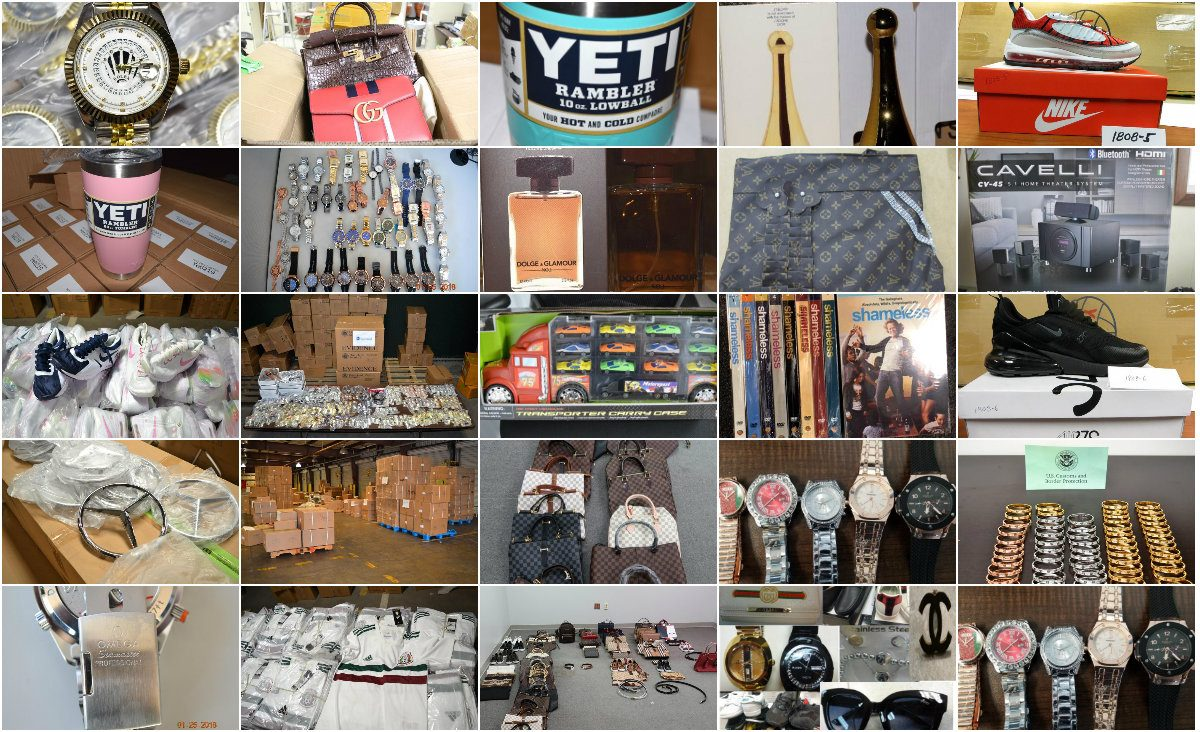 Images of counterfeit products seized by the U.S. Customs and Border Protection.