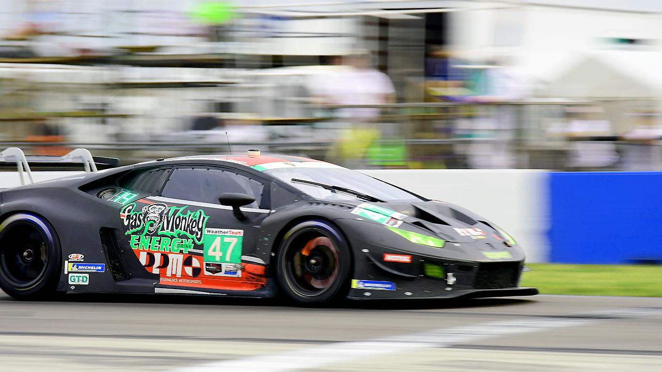 The #47 Precision Performance Motorsports Lamborghini lights up its brake rotors.