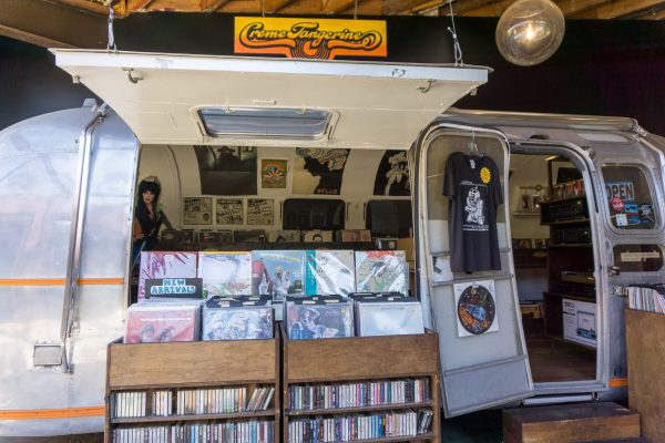 Creme Tangerine Records shop in an Airstream
