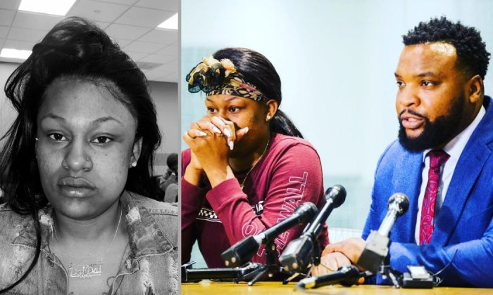 Attack Victim L'Daijohnique Lee on April 2 (L) and with Civil Rights Attorney Lee Merritt (far R) on April 3, 2019. (Courtesy of Lee Merritt/Twitter)