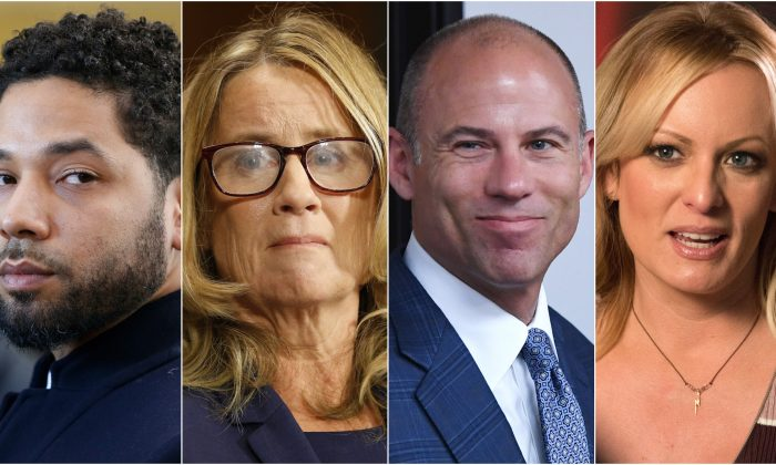 (L-R)Jussie Smollett, Christine Blasey Ford, Michael Avenatti , Stormy Daniels. Getty Images