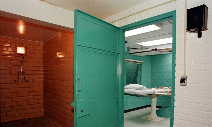 """The entrane to the """"death chamber"""" (R) at the Texas Department of Criminal Justice in Huntsville, Texas, on Feb. 29, 2000. (Paul Buck/AFP/Getty Images)"""