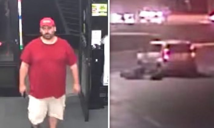 (L) The hit-and-run suspect is seen entering a store minutes before the attack. (R) The scene of the incident in which a pedestrian was run over by a vehicle in Oakland Park, Florida, on Feb. 23, 2019. (Broward Sheriff's Office)