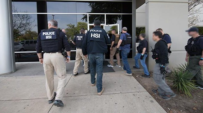 Immigrations officials arrested more than 280 illegal aliens at a company in Allen, Texas. (Immigration and Customs Enforcement)
