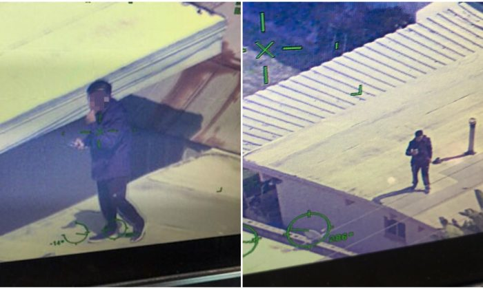 A teenager on the roof where he fled after police tried to apprehend him over the murder of Samantha Bustos. (L Special Enforcement Bureau)