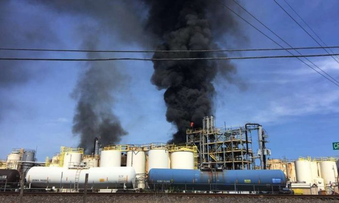 Fire breaks out at the KMCO Chemical plant in Crosby, Texas, on April 2, 2019. (Harris County Fire Marshal's Office via AP)