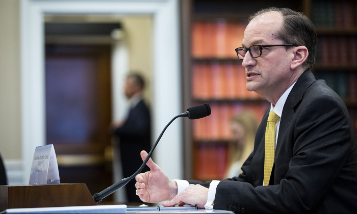 Labor Secretary Alexander Acosta testifies during a House Appropriations Committee hearing on the Labor Budget for Fiscal Year 2020, on Capitol Hill in Washington on April 3, 2019. (Al Drago/Getty Images)