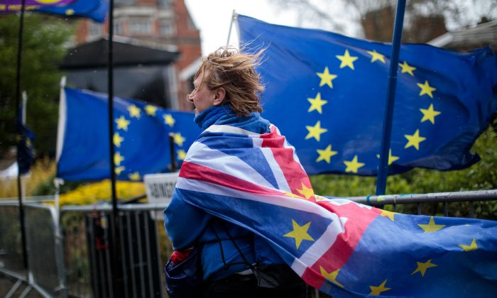 A pro-EU protester demonstrates outside the Houses of Parliament in Westminster in London, on April 4, 2019. (Jack Taylor/Getty Images)