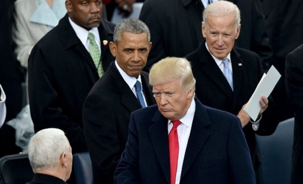 President Donald Trump(2nd-R) with Vice President Mike Pence(L)