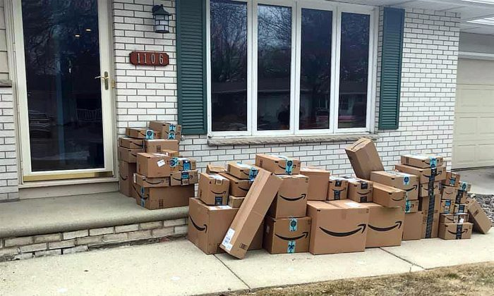 A Wisconsin man discovered about 40 Amazon shipping boxes in front of his home, on April 1, 2019. (Courtesy of Maureen Pritchard/Facebook)