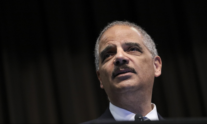 Former Attorney General Eric Holder speaks at the National Action Network's annual convention in New York City, on April 3, 2019. (Drew Angerer/Getty Images)