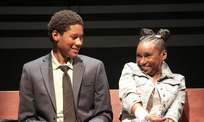 "The two 12-year-olds Tino and Deja are played by the young adults Jay Mazyck and Courtney Thomas in ""Surely Goodness and Mercy."" (Carol Rosegg)"