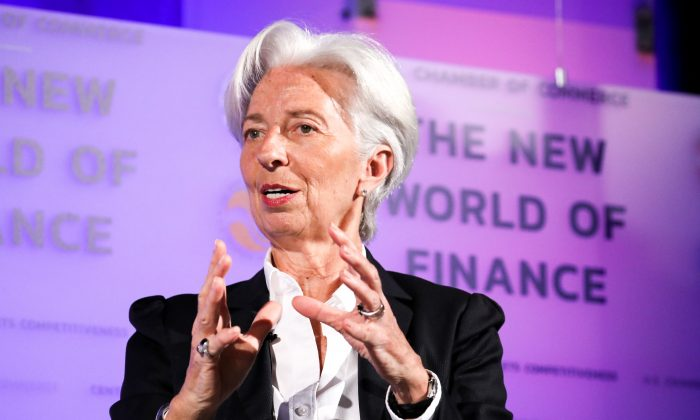 International Monetary Fund Managing Director Christine Lagarde speaks at the 13th Annual Capital Markets Summit at the U.S. Chamber of Commerce in Washington on April 2, 2019. (Samira Bouaou/The Epoch Times)
