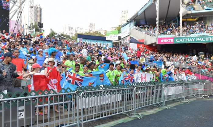 Fiji supporters ready for knock-out action as their team blew away all opposition in the Pool Stage of the Hong Kong Sevens on Saturday April 6, 2019. (Bill Cox/Epoch Times)