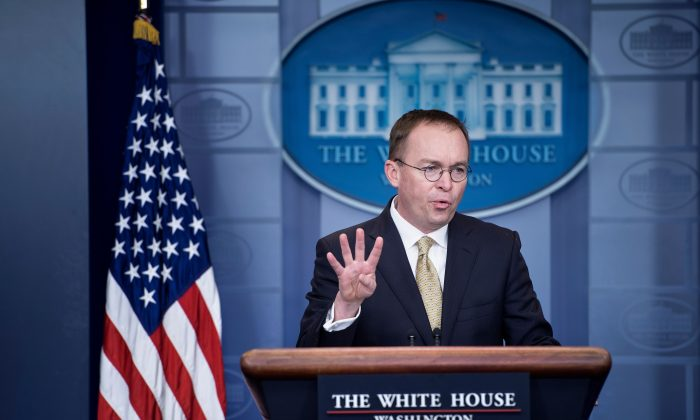 Mick Mulvaney, Acting White House Chief of Staff speaks during a briefing at the James S. Brady Press Briefing Room of the White House on January 20, 2018 in Washington. (BRENDAN SMIALOWSKI/AFP/Getty Images)
