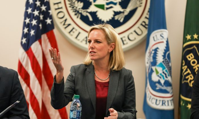 Department of Homeland Security Secretary Kirstjen Nielsen at the McAllen Border Patrol Station in McAllen, Texas, on March 21, 2019. (Charlotte Cuthbertson/The Epoch Times)
