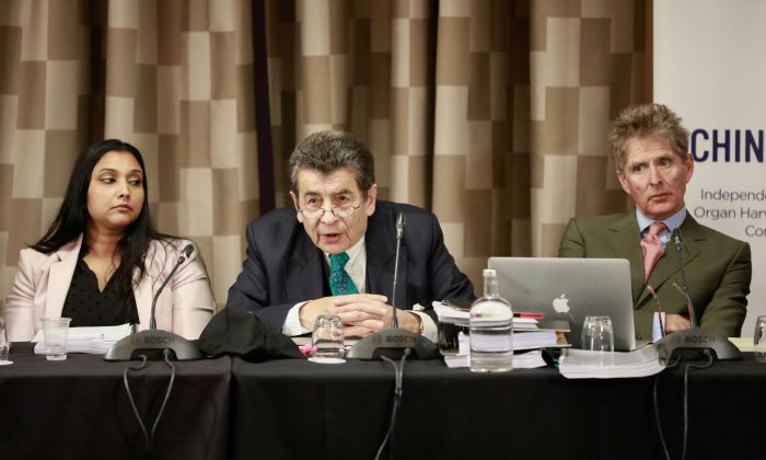 Tribunal panel member Regina Paulose (L), chair to the tribunal Sir Geoffrey Nice QC (C), and panel member  Nicholas Vetch on the first day of the April hearings in London on April 6, 2019. (endtransplantabuse.org)