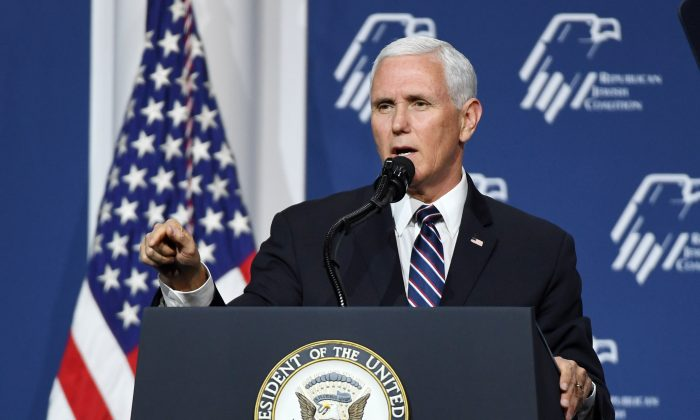 Vice President Mike Pence speaks during the Republican Jewish Coalition's annual leadership meeting at The Venetian Las Vegas on April 6, 2019 in Las Vegas, Nevada. (Ethan Miller/Getty Images)