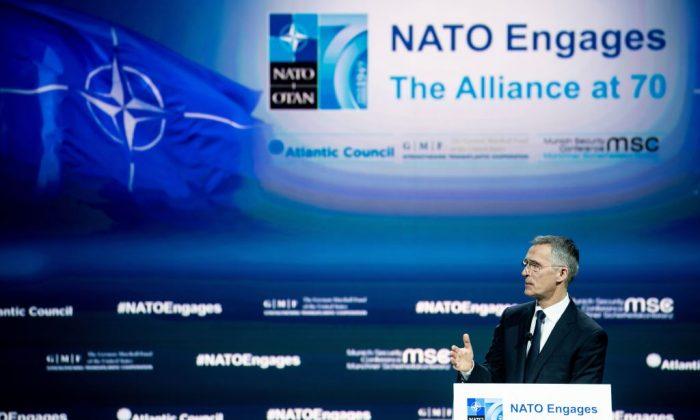 NATO Secretary General Jens Stoltenberg speaks at a forum about NATO at The Anthem, in Washington, on April 3, 2019. (Brendan Smialowski BRENDAN SMIALOWSKI/AFP/Getty Images)