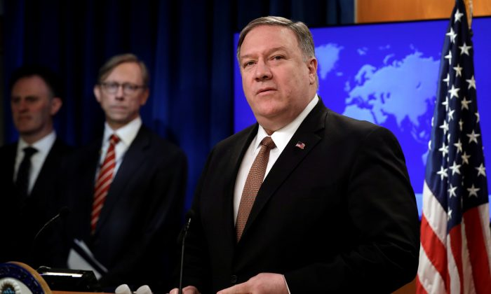 Secretary of State Mike Pompeo speaks during a briefing on Iran at the State Department in Washington on April 8, 2019. (Reuters/Yuri Gripas)