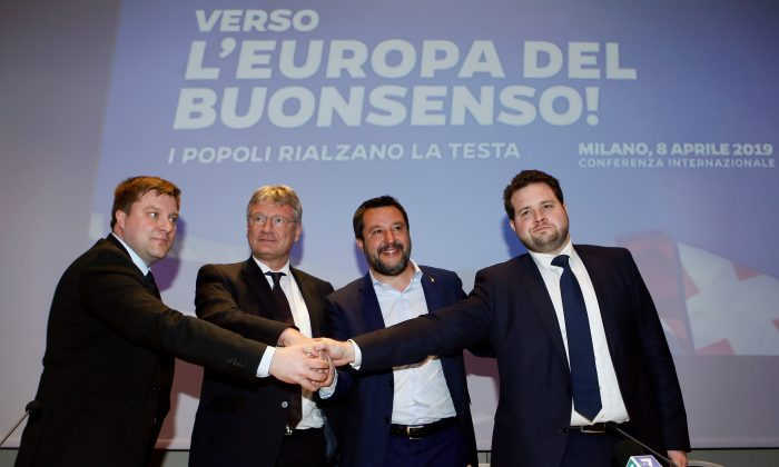 Matteo Salvini, Italy's Deputy Prime Minister and leader of the far-right League Party, poses with Olli Kotro from the Finnish ECR party, Joerg Meuthen from the the German EFDD party and Anders Vistisen from the Danish ECR party, as he launches the start of his campaign for the European elections, in Milan, Italy April 8, 2019. REUTERS/Alessandro Garofalo