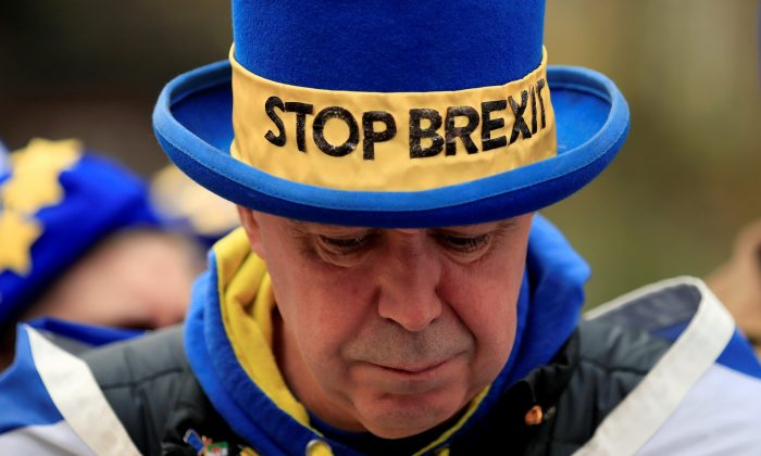 Anti-Brexit protester Steve Bray is seen outside the Houses of Parliament in London, Britain, April 8, 2019. REUTERS/Gonzalo Fuentes