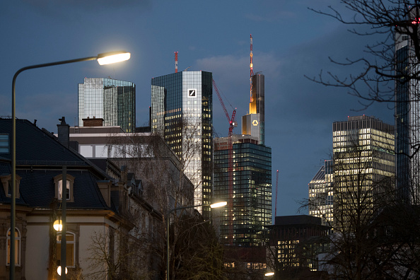 The corporate headquarters of Deutsche Bank and Commerzbank stand in Frankfurt, Germany, on March 18, 2019. The two banks are reportedly in talks over a possible merger. (Thomas Lohnes/Getty Images)