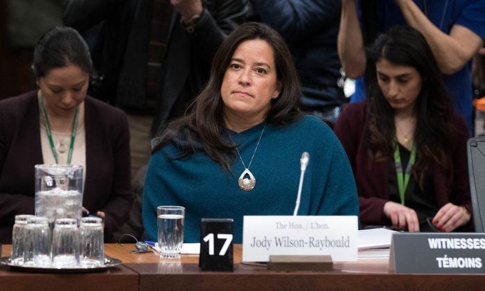 Former Canadian Justice Minister Jody Wilson-Raybould arrives to give her testimony about the SNC-LAVALIN affair before a justice committee hearing on Parliament Hill in Ottawa on Feb. 27, 2019. (LARS HAGBERG/AFP/Getty Images)