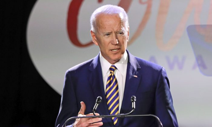 Former vice president Joe Biden speaks at the Biden Courage Awards in New York on March 26. (Frank Franklin II/AP Photo)