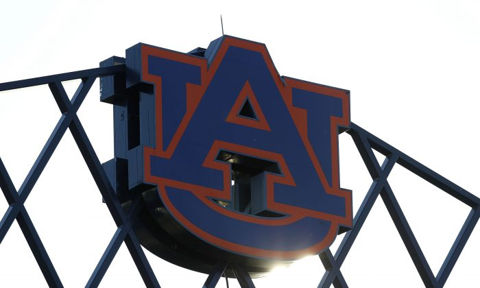 Photo of the Auburn University logo at the top of Jordan-Hare Stadium in a file photo.  (Mike Zarrilli/Getty Images)