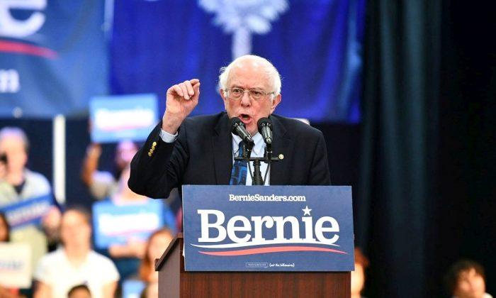 Sen. Bernie Sanders (I-Vt.) addresses a rally in North Charleston, S.C., on March 14, 2019. (AP Photo/Meg Kinnard)