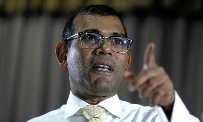 Maldives former President Mohamed Nasheed speaks during a news conference ahead of the Maldives presidential election, in Colombo, Sri Lanka on Sept. 21, 2018. (Dinuka Liyanawatte/Reuters)