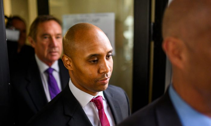 Former Minneapolis Police officer Mohamed Noor leaves the Hennepin County Government Center during a break from his trial on April 1, 2019 in Minneapolis, Minnesota. (Stephen Maturen/Getty Images)