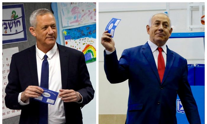 A combination picture shows Benny Gantz (left), leader of Blue and White party voting at a polling station in Rosh Ha'ayin and Israel's Prime Minister Benjamin Netanyahu voting at a polling station in Jerusalem during Israel's parliamentary election on April 9, 2019. (Nir Elias, Ariel Schalit/Pool via Reuters)